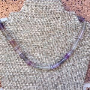 "Antique sterling 19"" rainbow fluorite necklace"